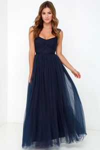 Navy blue tulle maxi. perfect bridesmaid dress//