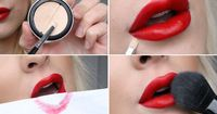 Tutorial - perfect red lips and durable! // Powder, lip liner in a matching color to the lipstick, lipstick, small brush, concealer and paper #makeup #dontpayfull