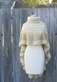 CROCHET CREAM PONCHO Cream Beige Shawl Turtleneck by marianavail, $115.00 USA FREE SHIPPING
