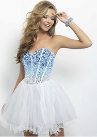 Blue Silver Ombre Sequined Corset Top White Cocktail Dress