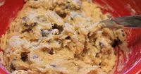eggless cookie dough to eat: 3/4 cup brown sugar + 1/4 cup butter, softened + 1/4 tsp. vanilla + 1/4 cup milk + 1 cup flour + Pinch salt + 1/2 cup chocolate chips