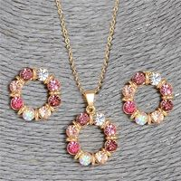 Pink Round Circle Shape Austrian Crystal Necklace Earring Jewellery Sets For Women $16.65