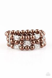 Paparazzi Undeniably Dapper - Crystal Bead Brown Pearl Rhinestone Bracelet $5.00