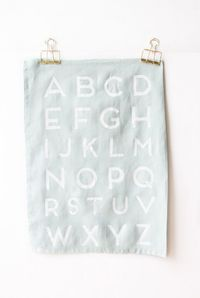Make these faux screen printed alphabet tea towels with your kids in an afternoon.