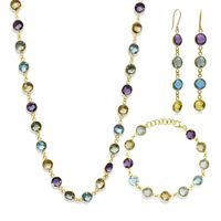 73.00 Ct 925 Silver Gold Plated Multi-Gemstone Necklace Bracelet Earrings Set