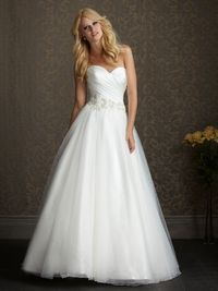 Allure Romance Style 2500 - A soft and romantic ball gown. This design features an asymmetrically ruched strapless bodice with a sweetheart neckline and natural waistline defined with embroidery and crystals.