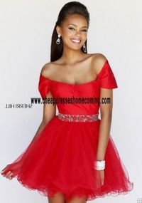 Red Short Sherri Hill 21192 Shoulder Funky and fun cocktail dress