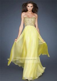 Yellow Long Chiffon Beaded Prom Dreses For Cheap