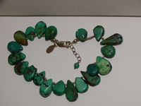 """Sterling Silver 8"""" Adjustable to 9"""" Inches Individually Knotted Turquoise Stone Bracelet $29.00"""