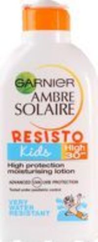 Garnier Ambre Solaire - Kids Resisto Lotion Garnier Ambre Solaire Kids Resisto Milk 30 contains Mexoryl XL, an advanced patented filtration system, which filters a wide range of UVA/UVB rays, ensuring youre better protected. This formula effect http://www...