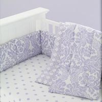 Baby Crib Bedding: Baby Crib Lavender and Pink Floral & Lattice Print Bedding in Crib Bedding