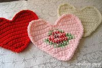 Crochet heart with added cross stitching made by Vintage Grey. Pattern for the heart by Bella Dia here - thanks so! xox http://belladia.typepad.com/bella dia/2008/02/sweet-heart-cro.html