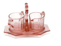 Pink Depression Glass Cream and Sugar With Tray - Decagon Pink by Cambridge - Pink Depression Glass Serving - Rare Depression Glass $49.99