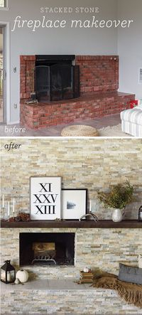 "Stacked stone fireplace makeover (on a budget�€""source list included)"