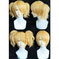 Vocaloid HardRKmix Rin Short Cosplay Wig with Two Pony-tails