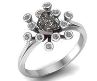 Explosive Twigs Engagement Ring with Rose in 18K White Gold Lover Gift Flower Ring Promise Ring Love Floral ring Birthday Gift For Her $885.00