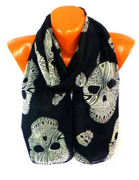 Scarves, Scarf, Shawl, Skull Scarf, Shawl with Skull Pattern, Halloween, Skull Painted, Womens Fashion Accessories, Lightweight Summer Scarf $16.00