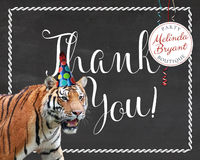 Zoo Birthday Printable Thank You Cards Tiger Themed Party First Birthday Wild Jungle Animal Chalkboard Custom Card Instant Download Notecard $4.30