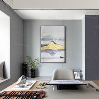 Landscape painting abstract mountain and river acrylic Gold art paintings on canvas framed Wall art birds original painting wall pictures $123.75