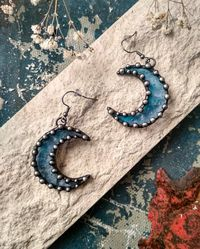 Crescent Moon - blue Earrings from stain glass $22.00