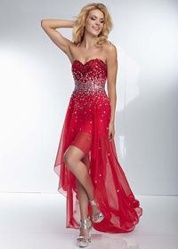 2014 Red Hot Strapless Beaded High Low Evening Dress