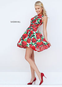 High Neck Sherri Hill 50444 Floral Print Party Dress 2016 Sale