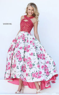 Sherri Hill 50481 Pink/Ivory Print Center Back Zipper Lace Straps