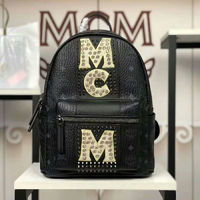 MCM Small Stark Stripe Studs Visetos Backpack In Black