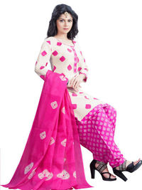 Printed Off White Salwar Suit Dupatta