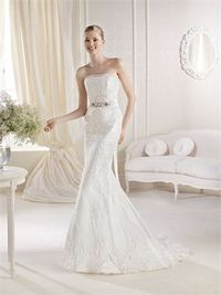 Romantic mermaid strapless beading sweep train lace wedding dresses