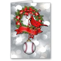 Silver Bokeh Baseball Christmas Wreath with Red Bird  #St Louis #Cardinals #MLB Red bird, baseball and red bows on a Christmas Wreath created Just for baseball fans- Season's Greetings Holiday card for the baseball fan who anxiously awaits the ret...