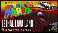 Super Mario 64 - Gameplay - Course 7 - Lethal Lava Land - Boil The Big Bully