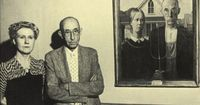 Grant Wood's American Gothic and the couple that posed for the painting.
