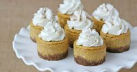 Mini Pumpkin Cheesecake Recipe - by Glorious Treats http://www.glorioustreats.com/2012/11/pumpkin-cheesecake-recipe.html
