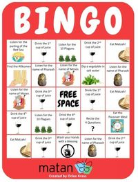 Passover Bingo is one of our favorite ways to keep kids engaged during the Passover seder. You can give out sheets of stickers for marking the boxes on the bing