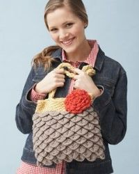 Mermaid Tears purse (crocodile stitch) by Mikey. Bernat website, and video tutorial (FREE) how to follow along with a FREE pattern!