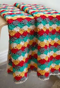 free crochet pattern classic shell blanket...I've made this pattern before...but love these colors