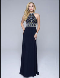 Nina Canacci 1238 Long Navy Bead Prom Dress 2016