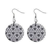 Black And White Pattern 04 Mini Button Earrings