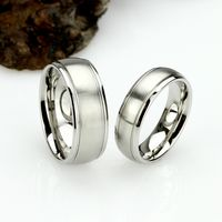 His And Hers Titanium Wedding Band Set, 8mm, 6mm, Matte Dome Ring, Titanium Promise Ring Set, Titanium Ring For Couple $78.00