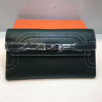 Hermes Kelly Wallet 20cm Swift Leather Palladium Hardware In Military Green