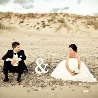 """This is so cute, it just needs the last name written in the sand, so it says Mr. & Mrs. """" """" :) Great beach photo idea"""