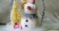 Pink - Cottage Style Glittery Snowman Cup with Bottle Brush Tree Christmas Folk Art Ornament