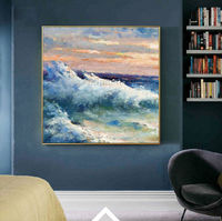 Sea waves Modern abstract painting ocean art acrylic Paintings on canvas Original texture Blue large wall art painting home decor $140.00