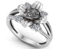 White Gold Flower Engagement Ring Promise Ring Unique Engagement Ring Contour Filigree Floral ring Birthday Gift For Her Gift $1295.00