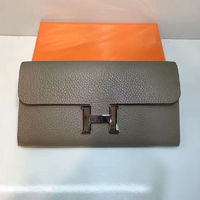 Hermes Constance Wallet 21.5cm Togo Leather Palladium Hardware In Dark Grey