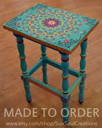 Made to Order. This is an example. Hand painted solid wood accent table, size 17 x 12.5 x 30 inches, boho style. Painted Furniture