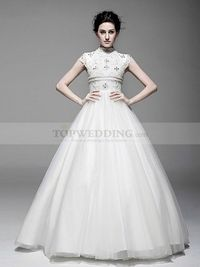 HIGH NECK CAP SLEEVED BALL GOWN WITH PEARL AND RHINESTONE