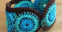 Crochet Cotton Turquoise and Brown Cuff / Bracelet ( I want one...soo cute)