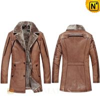 Father's Day Gifts   CWMALLS® Astana Men Shearling Leather Coat CW857016[Multifunctional Coat, Custom Made]
